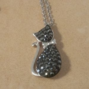 Sterling Silver Pave Set Black Stone Cat Pendant